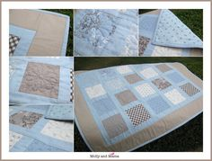 WAS $125, NOW $99 Decorate the nursery with style! This stunning quilt is unlike anything youll find in the shops. Hand crafted with lots of attention to detail, this quilt will stand the test of time! The quilt measures 93 x 78 cm and is perfect for a cot. In 100% cotton, the top is patchworked, and then machine quilted. Its backed in co-ordinating fabric, padded with 100% cotton wadding, and the edges are bound by hand. This one comes in a combination of dusty pale bl...