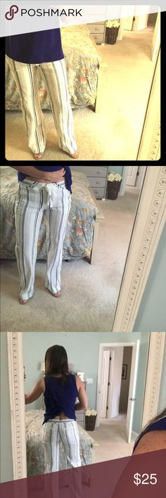 BCBG striped pants Beachy and comfy BCBG pants. Never altered. Button fly and tie at waist. Size 2. BCBGMaxAzria Pants