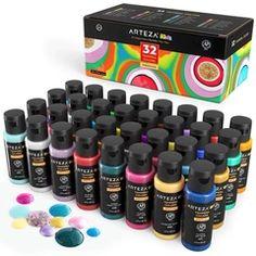 Kids Premium Tempera Paint, Assorted Colors, 60ml Bottles - Set of 32 Tempera, Outdoor Acrylic Paint, Acrylic Paint Set, Marker, Casa Anime, Poster Paint, Sponge Painting, Washable Paint, Color Crafts