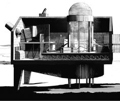 """A perspective section of """"The Filter House"""" by Matthew Butcher, printed in the December issue of P.E.A.R. magazine."""