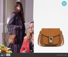 Spencer's tan bag on Pretty Little Liars. Outfit Details: https://wornontv.net/58998/ #PLL