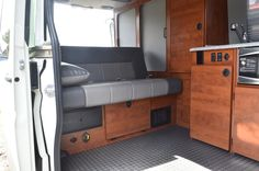 Inside, the Sportsmobile at Overland Expo has a full kitchen area and plenty of storage space