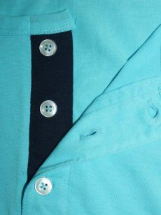 No Logo Sky Blue Full Sleeves Henley T-Shirt