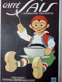Rarissimo cartoncino pubblicitario caffè SAIS ROMA 1920 stab. Strada Roma .