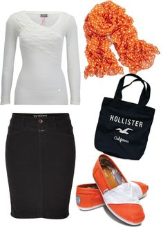 """Orange and white."" by kristina-norrad ❤ liked on Polyvore"