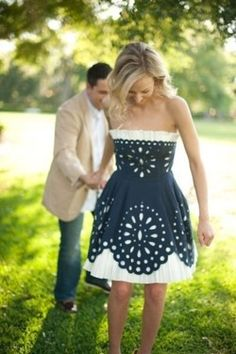 Blue and white country dress