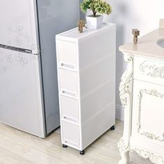 Shozafia Narrow Slim Rolling Storage Cart and Organizer inches Kitchen Storage Cabinet Beside Fridge Small Plastic Rolling Shelf With Drawers For Bathroom - Storage Cart - Ideas of Storage Cart Toilet Storage, Small Bathroom Storage, Laundry Room Storage, Small Storage, Bedroom Storage, Small Shelves, Plastic Storage, Rolling Shelves, Rolling Storage Cart