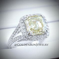 GOLDEN SUN JEWELRY: A beautiful 7.07ct. Fancy Yellow Asscher cut diamond in a beautiful diamond halo setting. @goldensunjewelry #goldensunjewelry #fancyyellow #canarydiamond #yellowdiamond #wedding #weddingring #engagement #engagementring #ring #solitaire #diamond #diamondring #fashion #fashionista #flawless #gia #haute #jewelry #kilogang #luxury #lavish #l4p #couture #designer #bling #bespoke #bridal #bride #vvs #marriage