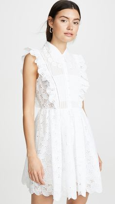 Self Portrait Leaf Broderie Anglaise Mini Dress
