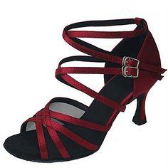 e574047e0b8 Femme Chaussures Latines   Chaussures de Jazz   Chaussures de Salsa Satin    Similicuir Sandale   Talon Paillette   Boucle Talon Personnalisé ...