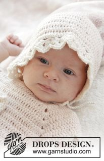 "Camille - Crochet DROPS bonnet with fan pattern in ""BabyAlpaca Silk"". Size 0 - 4 years. - Free pattern by DROPS Design"