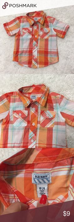 Old Navi t Shirt Bottom Baby Boy 18-24 Months Almost new Orange colors made in India Old Navy Shirts & Tops Button Down Shirts