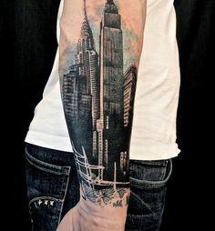 City Forearm Tattoo Designs For Men