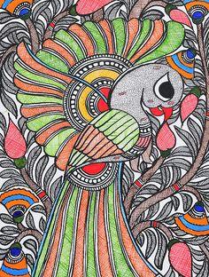 Bird Painting x Madhubani Art, Madhubani Painting, Peacock Drawing, Buy Birds, Shopping Coupons, Mandala Art, Colored Pencils, 21st, Arts And Crafts