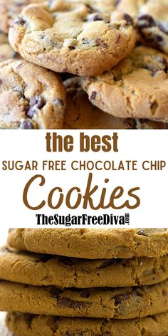 Sugar Free Chocolate Chip Cookie Recipe, Sugar Free Cookie Recipes, Sugar Free Deserts, Sugar Free Baking, Sugar Free Sweets, Sugar Free Cookies, Low Carb Sweets, Healthy Sweets, Chocolate Chip Cookies