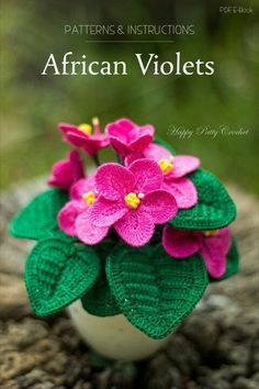 Inside youll find a crochet flower pattern for a African Violets. Crochet your own classic African V Crochet Puff Flower, Crochet Cactus, Crochet Flower Patterns, Love Crochet, Easy Crochet, Crochet Flowers, Crochet African Flowers, Crochet Diagram, Crochet Motif