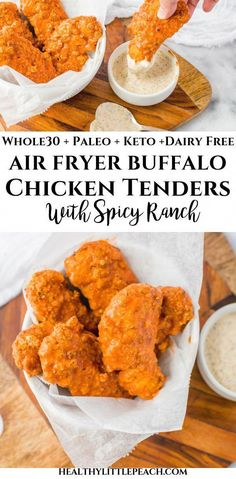 Air Fryer Buffalo Chicken Tenders A savory and crispy chicken tender tossed in the perfect buffalo sauce and served with a spicy ranch dressing. This recipe is Keto and Paleo compliant along with being dairy and gluten free. Chicken Tenders Healthy, Buffalo Chicken Tenders, Air Fryer Chicken Tenders, Healthy Buffalo Chicken, Vegan Chicken Strips Recipe, Paleo Fried Chicken, Buffalo Chicken Strips, Air Fryer Oven Recipes, Air Frier Recipes