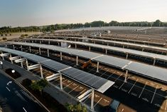 Solar canopies on the parking lots at FedExField