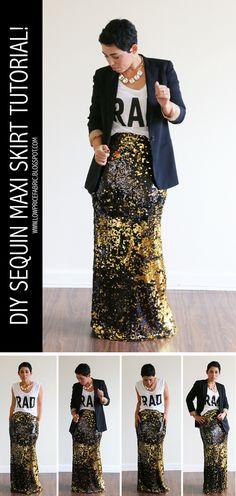 FREE DIY Sequin Maxi Skirt Tutorial! #mimigstyle