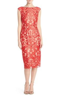 6345c1e4 Vince Camuto Embroidered Mesh Overlay Midi Dress available at #Nordstrom  Social Dresses, Women's Dresses