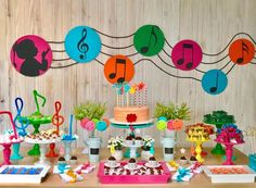 Music Theme Birthday, Rockstar Birthday, Music Themed Parties, First Birthday Parties, Birthday Party Themes, First Birthdays, Music Party Decorations, Birthday Decorations, Neon Party