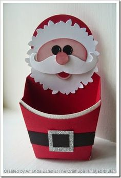 Wonderful Wreath Santa on a Santa Belt Fry Box . Moustache die, Fry Box Die. By Amanda Bates, Independent UK Stampin' Up! demonstrator at The Craft Spa