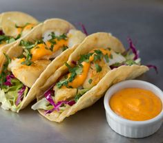 Fish Tacos with Cabbage Slaw and Spicy Sriracha Sauce