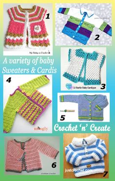 7 free baby crochet patterns for sweaters & Cardigans. #crochet