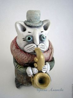 Игрушки животные, ручной работы. Ярмарка Мастеров - ручная работа. Купить Керамическая фигурка. Кот на саксофоне.. Handmade. Кот
