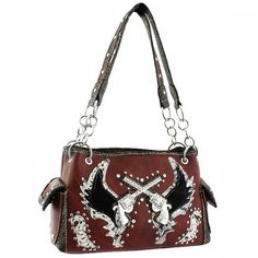ANYTHINGEVERYTHINGSHOP Western Cross Guns and Angel Wings Handbag PURSE - RED