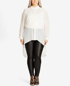 City Chic Trendy Plus Size High-Low Illusion Shirt - Ivory/Cream 22W