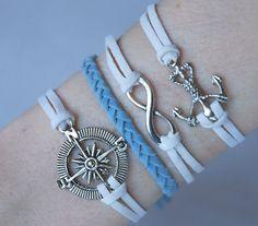 Antique Silver Bracelet, Compass Bracelet, Infinity Bracelet, Anchor Bracelet