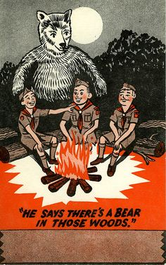 My Dad got this when we was at Boy Scout camp in Boy Scout Camping, Retro Illustration, Illustrations, Moonrise Kingdom, Demon Art, Rustic Art, Business Inspiration, Old Postcards, Vintage Comics