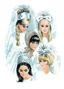 Retro Wedding Hair Styles :)  Very interesting headpieces that are, thankfully, no longer in style.