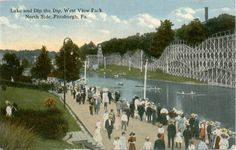 """West View Park made its grand opening in 1906. The first rides were a carousel, a mill chute ride called the """"Mystic Chute,"""" and a figure eight roller coaster all built by the T. M. Harton Co. Another attraction for the park's debut season was an open air dance hall--the largest in western PA at that time. It also had a Penny Arcade, Pony Track, & rowboats on the lake. In 1907 a Katzenjammer Castle fun house & bandstand were added. Two years later a new Erwin & Edward Vettel coaster opened."""