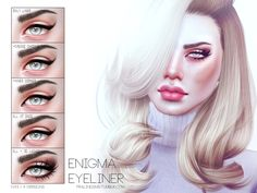 TESTED - WORKS!  Enigma Eyeliner N43 by Pralinesims at TSR via Sims 4 Updates