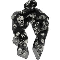 Alexander McQueen Skull-print silk-chiffon scarf ($295) ❤ liked on Polyvore