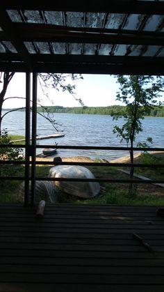 Sauna, log, wooden, lake