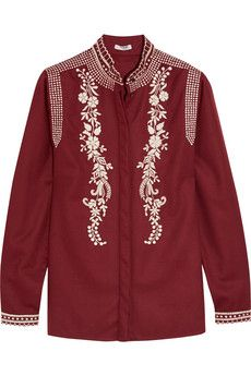 Vilshenko Koby embroidered wool and cashmere-blend blouse | NET-A-PORTER