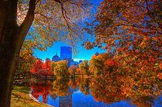 Boston in the fall #Boston #Fall #BostonUSA I was engaged on the bridge in Boston Gardens.