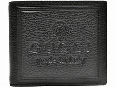 """Gucci Trademark Bi-fold Wallet in brown pebbled leather with signature trademark embossed on the front. Bi-fold style. 6 credit card slots, 2 billfold compartments, 2 hidden inserts, matching stitching. Measures: 4.5""""L x 4""""H x 1""""W Made in Italy. Contact Us: decadentdivagallery@yahoo.com"""