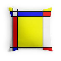 'Piet Mondrian-Inspired Throw Pillow by simplepaperplan Mondrian Art, Floor Pillows, Throw Pillows, Rainbow Room, Scatter Cushions, Home And Deco, Bauhaus, Collages, Art Boards