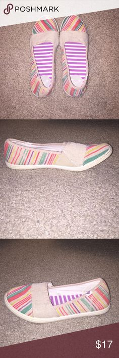 ROXY SLIP ON SHOES Roxy slip on shoes, multi colored have never been worn before, price negotiable Roxy Shoes