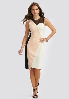 dfb609188c8 Cato Fashions Colorblock Illusion Neck Sheath Dress  CatoFashions Trendy  Clothes For Women
