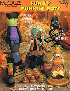 Funky Punkin Pots Halloween Flower Pot How to by howtobooksandmore, $3.00