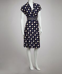 Take a look at this Navy & Cream Lattice Cap-Sleeve Dress by Voir Voir on #zulily today!
