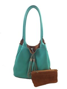 Italian Leather Reversible Purse with Monogram  Grande in Turquoise  amp   Cognac Depend On You 887ae926653a0