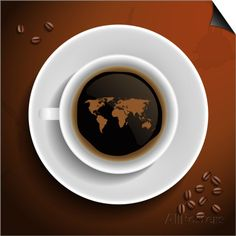 World Map In Coffee Cup SwitchArt™ Print