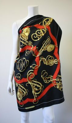 "Vintage HERMES Black, Gold, & Red 35"" Equestrian Theme Scarf with Serpent Stirrups & Double H Centerpiece!  Luxe!"