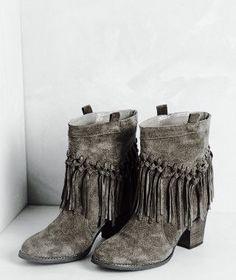 Bohéme boho tan suede fringe ankle boots